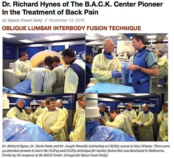 Dr. Richard Hynes of The B.A.C.K. Center Pioneer In the Treatment of Back Pain