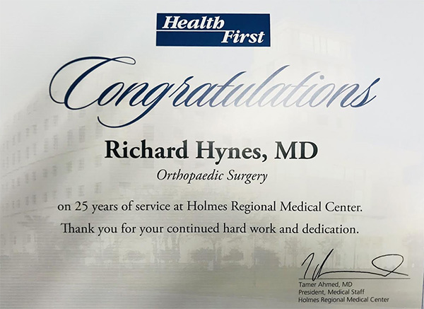 25 years of Orthopaedic service award from Health First