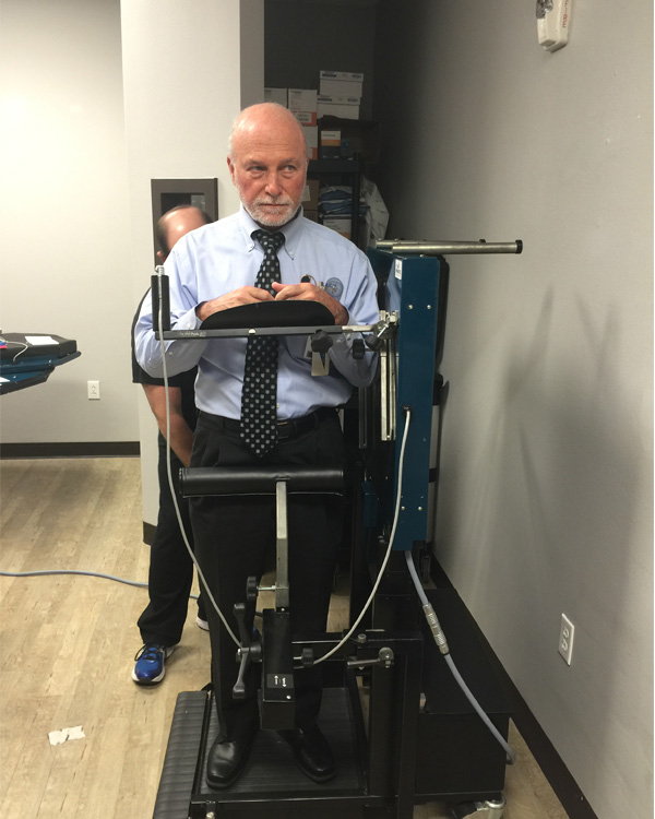 Dr. Hynes trying out new OKI technology
